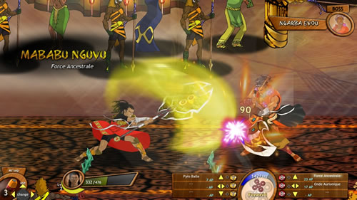 Image from 2013 showing aspects of the game in real time: this image shows a confrontation between Enzo Kori-Odan (hero) and Ngarba Evou (his brother-in-law and author of the coup d'état).