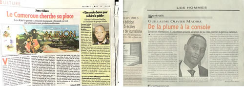 Some press clippings from the Cameroonian press (Left), article published in Cameroon Tribune, governments daily. (Right), article published in the private news paper Mutations.